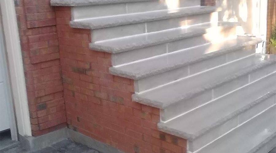 Brick and stone steps built by Mace Masonry