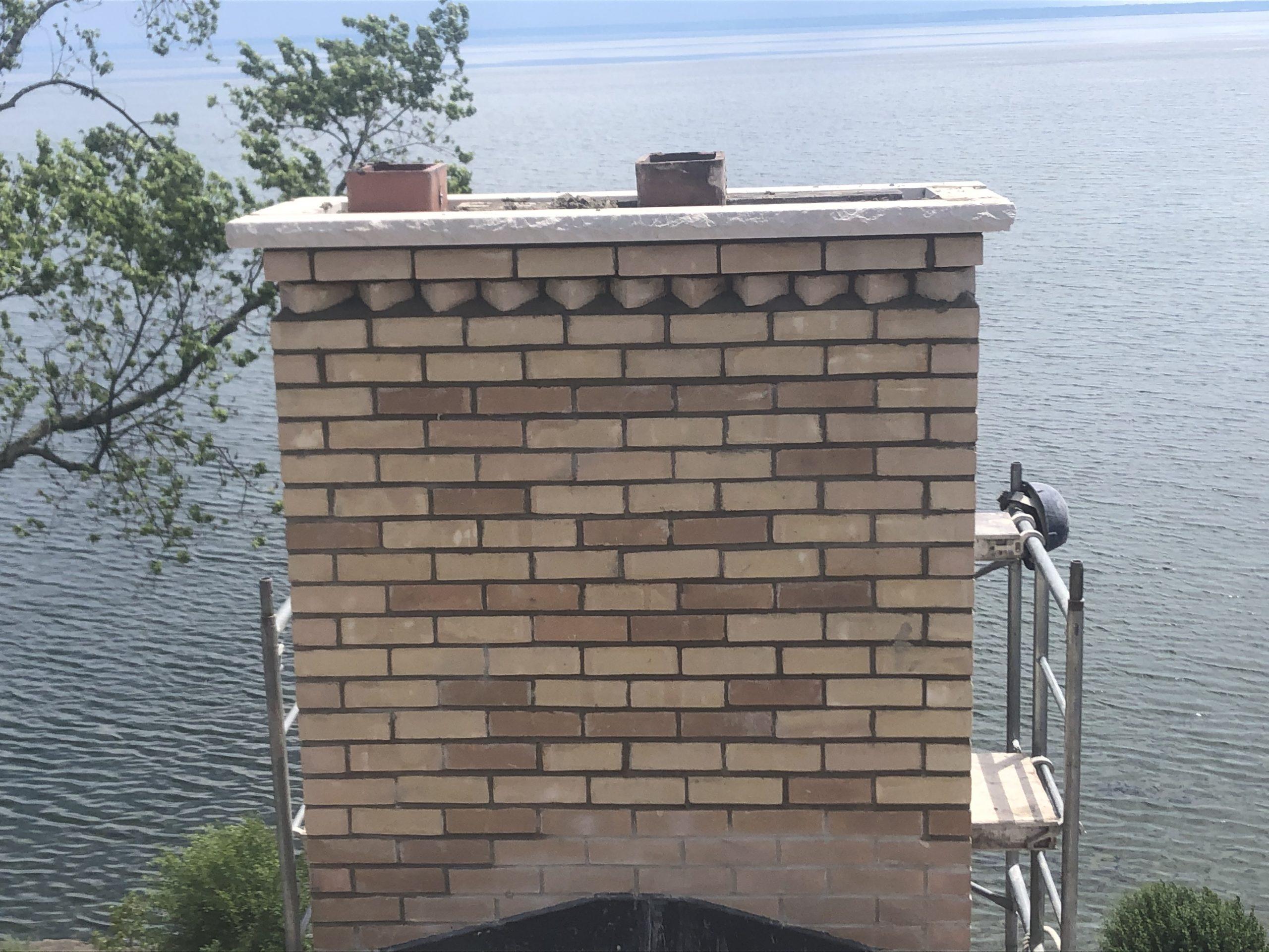 Freshly rebuilt chimney on the waterfront in Oakville.